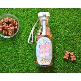 botella personalizada rellena de chuches choco