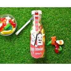 botella personalizada rellena de chuches gominolas mixtas