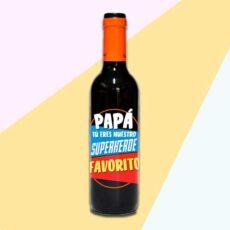 Botella de vino papa eres mi super héroe favorito