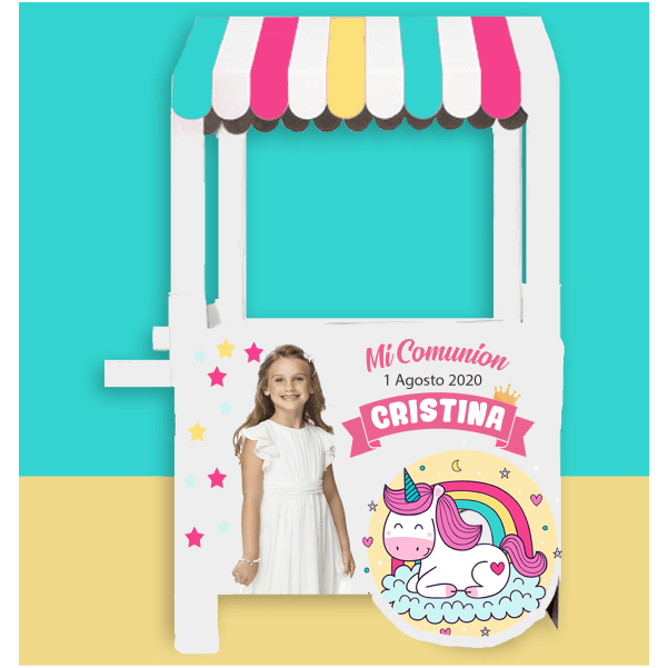 Carrito candy bar para niña personalizable con relleno de gominolas y chuches