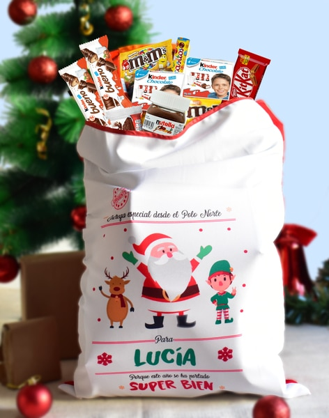Saco repleto de chocolates y gominolas papa noel