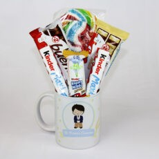Taza para niños de comunión rellena de chocolates
